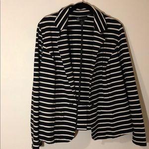 Lane Bryant Sz 18 Black/White Stripe Cotton Blazer
